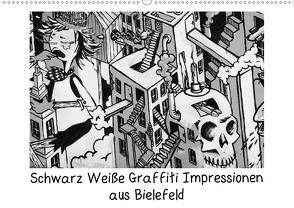 Schwarz Weiße Graffiti Impressionen aus Bielefeld (Wandkalender 2021 DIN A2 quer) von Schwarzer,  Kurt
