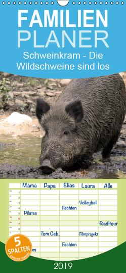 Schweinkram – Die Wildschweine sind los – Familienplaner hoch (Wandkalender 2019 , 21 cm x 45 cm, hoch) von Lindert-Rottke,  Antje