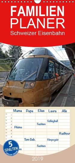 Schweizer Eisenbahn – Familienplaner hoch (Wandkalender 2019 , 21 cm x 45 cm, hoch) von J. Strutz,  Rudolf