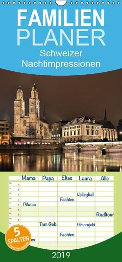 Schweizer Nachtimpressionen – Familienplaner hoch (Wandkalender 2019 , 21 cm x 45 cm, hoch) von Kling,  Jens