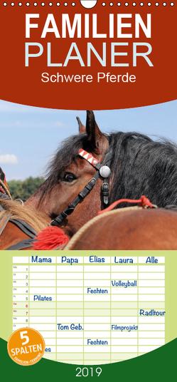Schwere Pferde – Familienplaner hoch (Wandkalender 2019 , 21 cm x 45 cm, hoch) von Ludwig,  Sandra