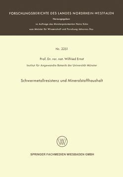 Schwermetallresistenz und Mineralstoffhaushalt von Ernst,  Wilfried