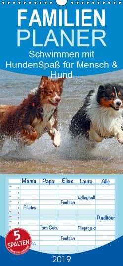 Schwimmen mit Hunden – Spaß für Mensch und Hund – Familienplaner hoch (Wandkalender 2019 , 21 cm x 45 cm, hoch) von Chawera