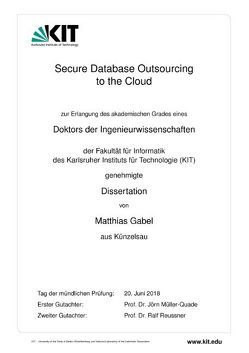 Secure Database Outsourcing to the Cloud von Gabel,  Matthias