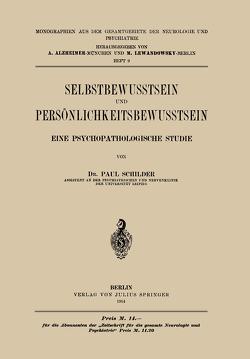 Selbstbewusstsein und Persönlichkeitsbewusstsein von Schilder,  Paul