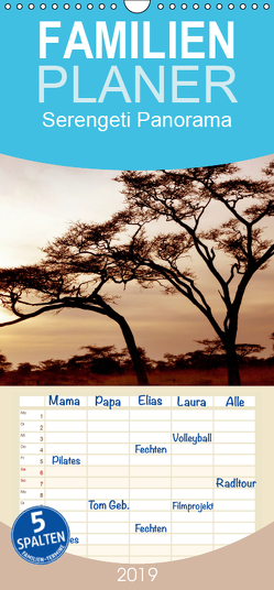 Serengeti Panorama – Familienplaner hoch (Wandkalender 2019 <strong>21 cm x 45 cm</strong> hoch) von visuell photography,  studio