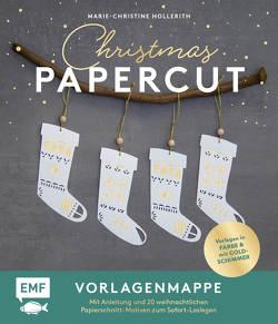 Set: Christmas Papercut – Die Vorlagenmappe mit Anleitung und 20 weihnachtlichen Papierschnitt-Motiven zum Sofort-Loslegen von Hollerith,  Marie-Christine