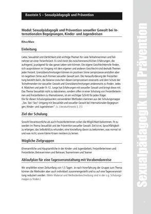Sexualpädagogik und Prävention bei Internationalen Begegnungen, Kinder- und Jugendreisen