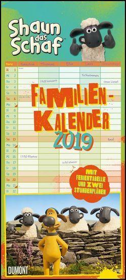Shaun das Schaf Familienkalender 2019 – Wandkalender – Familienplaner mit 5 Spalten – Format 22 x 49 cm von DUMONT Kalenderverlag