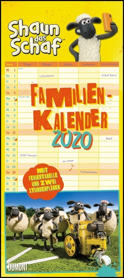 Shaun das Schaf Familienkalender 2020 – Wandkalender – Familienplaner mit 5 Spalten – Format 22 x 49,5 cm von DUMONT Kalenderverlag