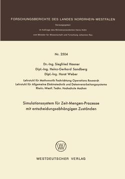 Simulationssystem für Zeit-Mengen-Prozesse mit entscheidungsabhängigen Zuständen von Hoener,  Siegfried