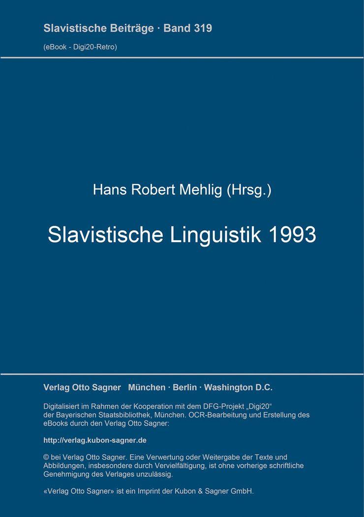 Slavistische Linguistik 1993 Von Scheffler Birgit Referate Des Xix