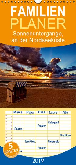 Sonnenuntergänge, an der Nordseeküste vor Cuxhaven – Familienplaner hoch (Wandkalender 2019 , 21 cm x 45 cm, hoch) von / Detlef Thiemann,  DT-Fotografie