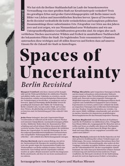 Spaces of Uncertainty – Berlin revisited von Cupers,  Kenny, Miessen,  Markus