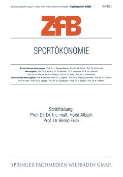 Sportökonomie von Albach,  Horst, Frick,  Bernd
