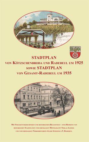 Stadtplan von Kötzschenbroda und Radebeul um 1925 sowie Gesamt-Radebeul um 1935. von Schmidt,  Michael