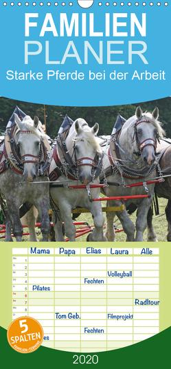Starke Pferde bei der Arbeit – Familienplaner hoch (Wandkalender 2020 , 21 cm x 45 cm, hoch) von Lindert-Rottke,  Antje