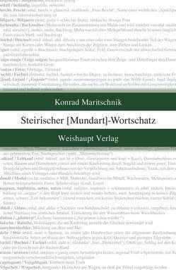 Steirischer Mundart-Wortschatz von Maritschnik,  Konrad