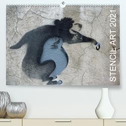 STENCIL ART 2021 – Schablonen Graffiti (Premium, hochwertiger DIN A2 Wandkalender 2021, Kunstdruck in Hochglanz) von Stolzenburg,  Kerstin
