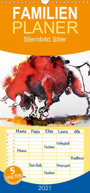 Sternbild Stier – Familienplaner hoch (Wandkalender 2021 , 21 cm x 45 cm, hoch) von Harmgart,  Sigrid