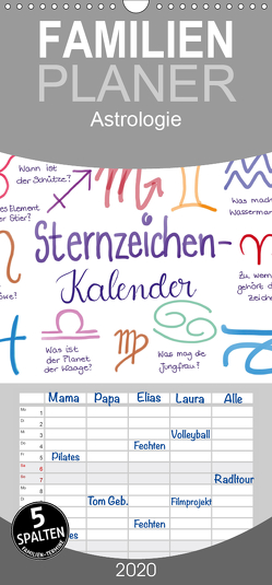 Sternzeichen-Kalender – Familienplaner hoch (Wandkalender 2020 , 21 cm x 45 cm, hoch) von Kleinhans - Kritzelfee,  Martje