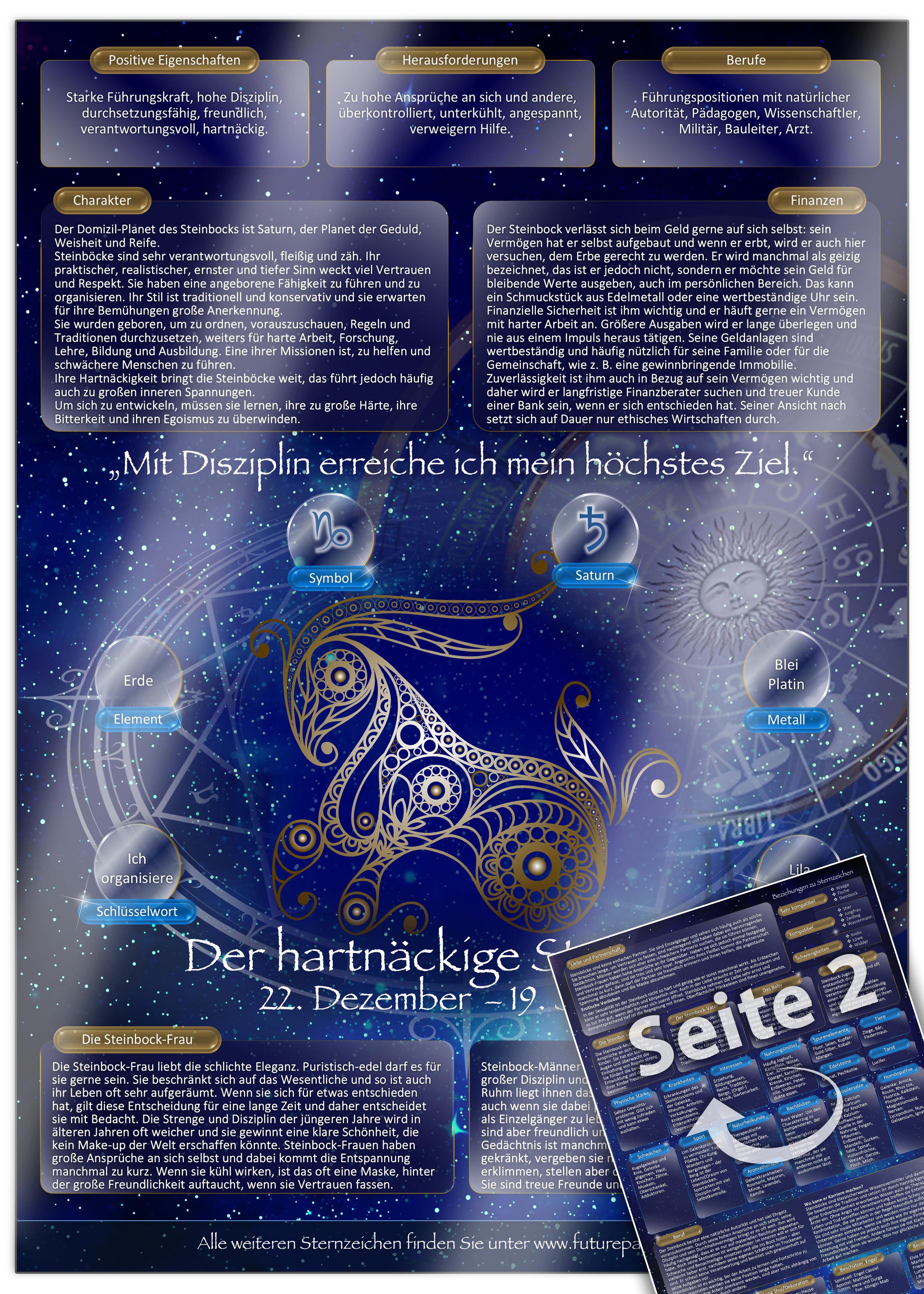 Sternzeichen Steinbock Die Horoskop Und Charakter Karte Fur Liebe