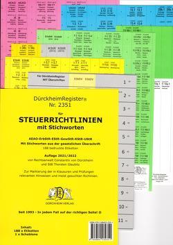STEUERRICHTLINIEN Dürckheim-Griffregister Nr. 2351 (2019) mit Stichworten aus der Gesetzesüberschrift von Dürckheim,  Constantin, Glaubitz,  Thorsten, Kläs,  Ramona, Kuhn,  Simon, Spies,  Alexander