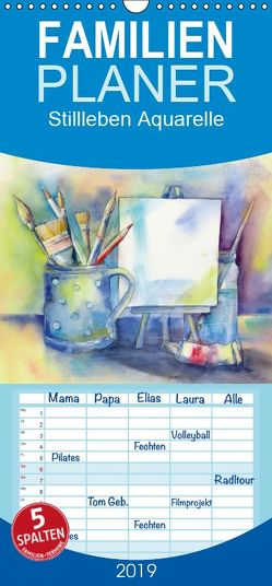 Stillleben Aquarelle – Familienplaner hoch (Wandkalender 2019 , 21 cm x 45 cm, hoch) von Krause,  Jitka