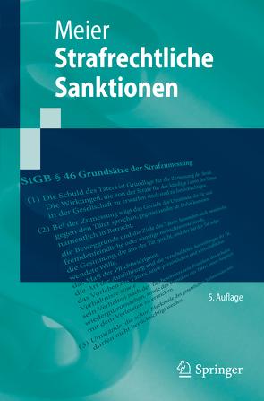 Strafrechtliche Sanktionen von Meier,  Bernd-Dieter