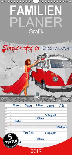 Street-Art in Digital-Art by Mausopardia – Familienplaner hoch (Wandkalender 2019 , 21 cm x 45 cm, hoch) von Jüngling alias Mausopardia,  Monika