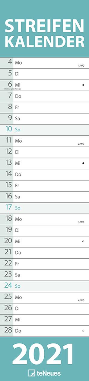 Streifenkalender groß PASTELL 2021 – Streifenplaner – Wandplaner – Küchen-Kalender – 15×64