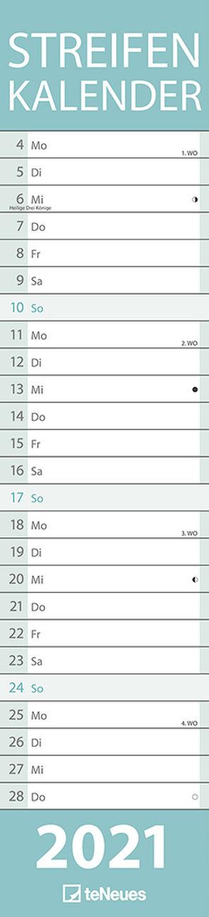 Streifenkalender PASTELL 2021 – Streifenplaner – Wandplaner – Küchen-Kalender – 11,3×49,5