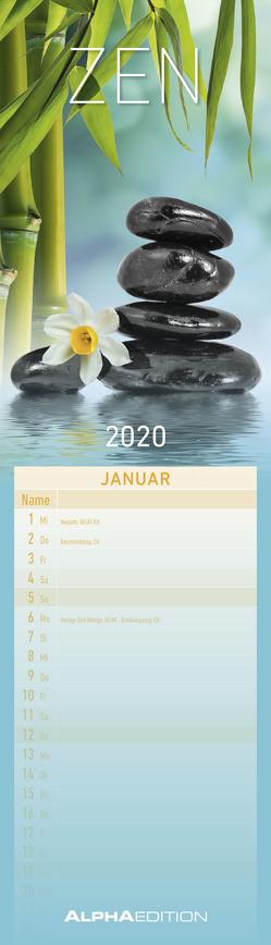 Streifenplaner mini Zen 2020 – Streifenkalender (9,5 x 33) – Wandplaner – Küchenkalender – Harmonie – Achtsamkeit von ALPHA EDITION