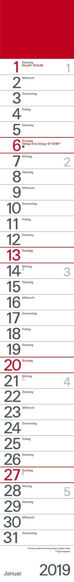 Streifenplaner Rot 2019 von Korsch Verlag