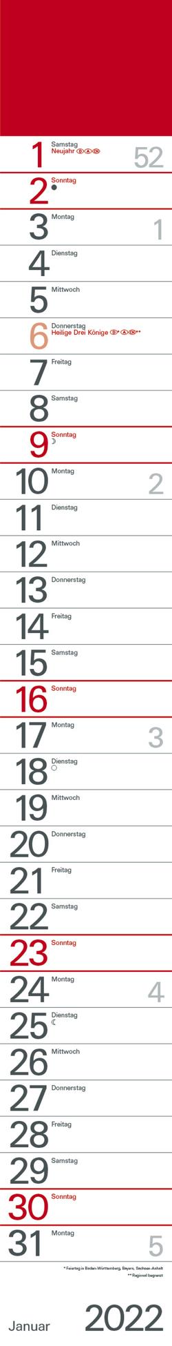 Streifenplaner Rot 2022 von Korsch Verlag