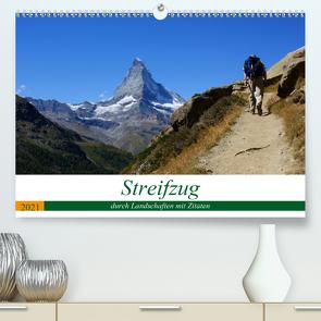 Streifzug durch Landschaften mit Zitaten (Premium, hochwertiger DIN A2 Wandkalender 2021, Kunstdruck in Hochglanz) von Michel,  Susan