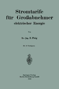 Stromtarife für Großabnehmer elektrischer Energie von Fleig,  Eduard