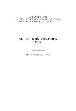 Studia Hymnographica II von Rothe,  Hans, Schnell,  Claudia