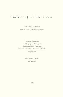 "Studien zu Jean Pauls ""Komet"" von Schweikert,  Uwe"