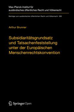 Subsidiaritätsgrundsatz und Tatsachenfeststellung unter der Europäischen Menschenrechtskonvention von Brunner,  Arthur