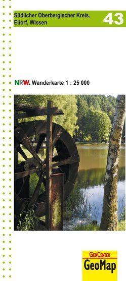 Südlicher Oberbergischer Kreis, Eitorf, Wissen Blatt 43, topographische Wanderkarte NRW
