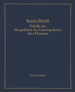 Tabelle der Hauptlinien der Linienspektren aller Elemente nach Wellenlänge geordnet von Kayser,  H, Ritschl,  R.