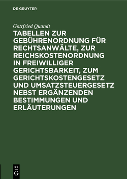 Tabellen zur Gebührenordnung für Rechtsanwälte, zur Reichskostenordnung in freiwilliger Gerichtsbarkeit, zum Gerichtskostengesetz und Umsatzsteuergesetz nebst ergänzenden Bestimmungen und Erläuterungen von Quandt,  Gottfried