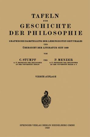 Tafeln zur Geschichte der Philosophie von Menzer,  Paul, Stumpf,  Karl, Thales,  NA