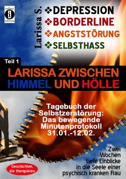 Tagebuch der Selbstzerstörung, das bewegende Minutenprotokoll Teil 1: Larissa zwischen Himmel und Hölle – DEPRESSION – BORDERLINE – ANGSTSTÖRUNG – SELBSTHASS! von S.,  Larissa