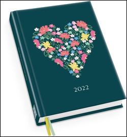 Taschenkalender »Blumenherz« 2022 ‒ Haferkorn & Sauerbrey ‒ Terminplaner mit Wochenkalendarium ‒ Format 11,3 x 16,3 cm von Haferkorn,  Romy