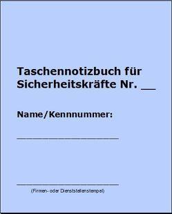 Taschennotizbuch für Sicherheitskräfte von Wenzl,  Christian
