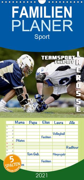 Teamsport Lacrosse – Face-off – Familienplaner hoch (Wandkalender 2021 , 21 cm x 45 cm, hoch) von Bleicher,  Renate