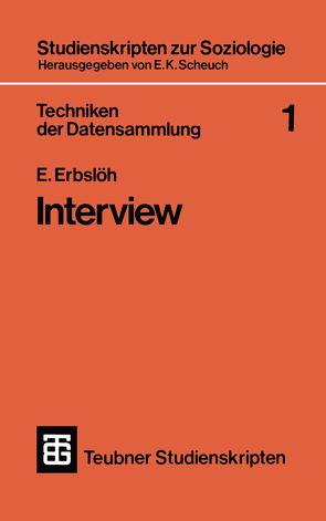 Techniken der Datensammlung 1 von Erbslöh,  E.