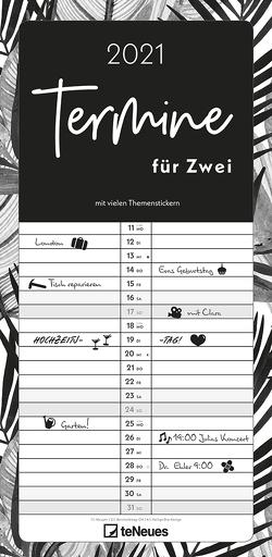 Termine für 2 Black and White 2021 Familienplaner – Timer – Termin-Planer – Couple-Kalender – Familien-Kalender – 22×45